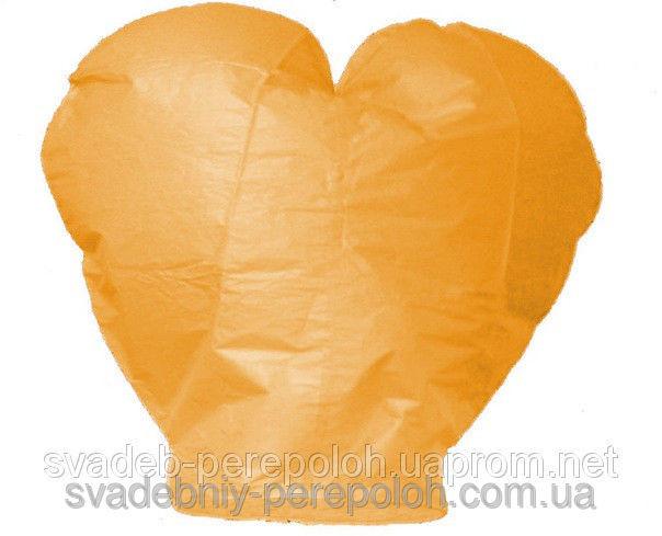 Небесный фонарик Сердце оранж