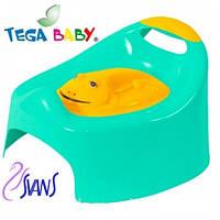 Детский горшок Жабка (Frog) с крышкой AG-004 зеленый с желтой крышкой Tega 60360