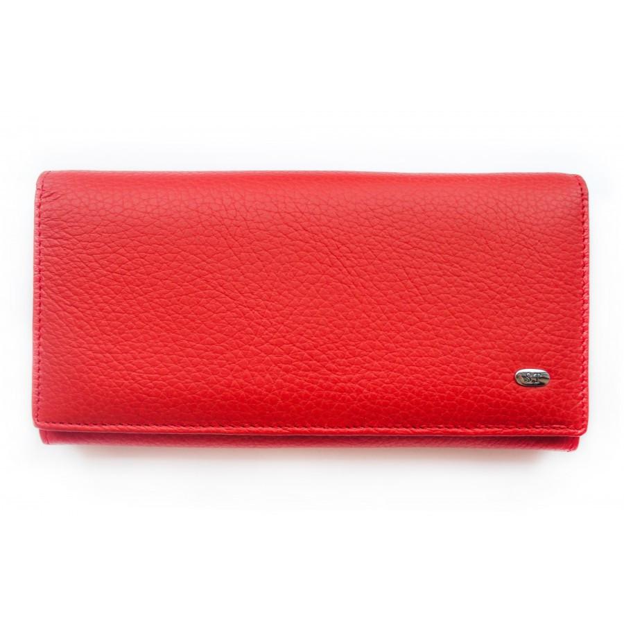Красный матовый кожаный кошелек ST (15119)