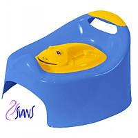 Детский горшок Жабка (Frog) с крышкой AG-004 синие с желтой крышкой Tega 60359