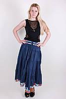 Красивая летняя женская юбка синего цвета