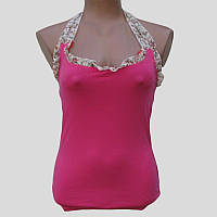 Майка женская розовая на завязках
