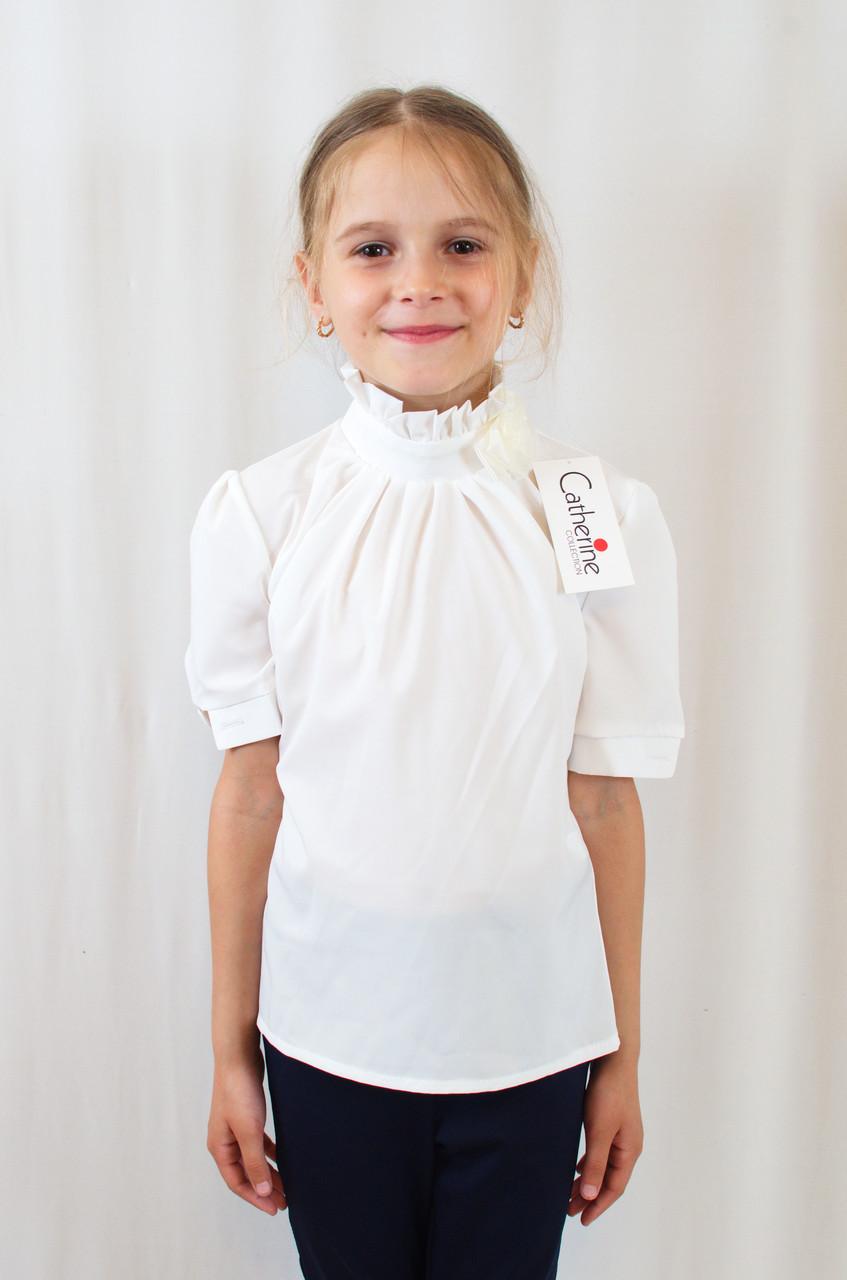Стильная нарядная шифоновая блуза для девочки с рукавом фонарик