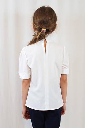 Стильная нарядная шифоновая блуза для девочки с рукавом фонарик, фото 3