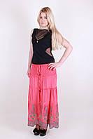 Стильная легкая летняя женская юбка розового цвета