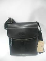Стильная мужская сумка барсетка через плечо черная BWS длинная короткая ручка недорого 7 км оптом Г1584/01623