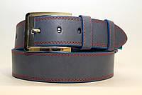 Джинсовый ремень 45 мм голубой прошитый красной ниткой пряжка серебряная хромированная края голубые