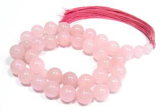 Чотки. Рожевий кварц. Натуральні камені. 33 каменю