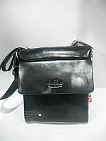 Стильная мужская сумка через плечо черная Delika длинная короткая ручка недорого 7 км оптом Г1584/01628