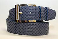 Джинсовый ремень 45 мм голубой пряжка серебряная хромированная края голубые на полосе рисунок