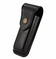 Универсальный чехол для ножа, чёрный, XL 110*33*15мм, на кнопке, телячья кожа