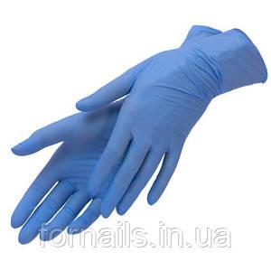 Перчатки нитриловые синие(размер L)1 пара