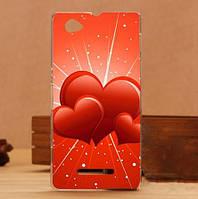 Силиконовый чехол бампер для Sony Xperia M c1905 с картинкой сердечки
