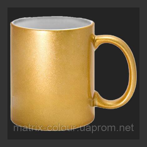 Нанесение изображения на чашку перламутровую золотистую.