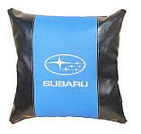 Декоративная подушка в машину с вышитым логотипом субару Subaru, фото 4