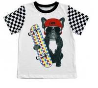 Стильная футболка для мальчика Собака на скейте