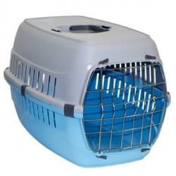 Переноска для животных 58х35х37 см Moderna 2 с металлической дверью, голубая