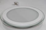 Светодиодный светильник,врезной круг со стеклом,12W, 3000K,алюминий
