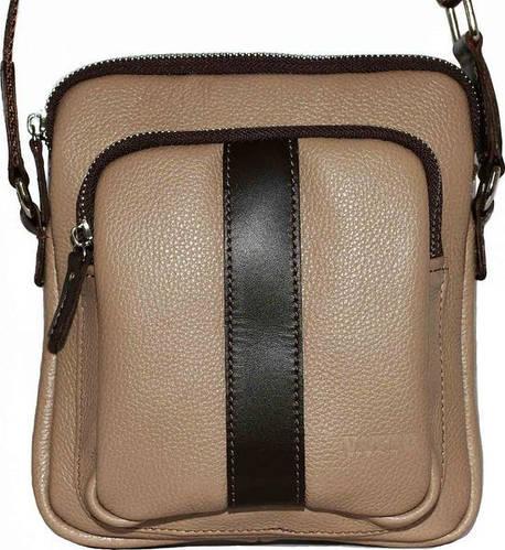 Вместительная мужская сумка на плечо из натуральной кожи VATTO Mk-48FL5Kаz400 бежевая с коричневым