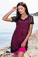 Модное хлопковое малиновое платье с принтом + чёрная сетка, батал. Арт-5671/57