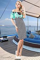Женское летнее платье в полоску с цветочным бирюзовым принтом