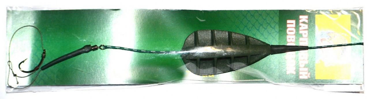 Оснастка готовая с кормушкой метод плоский крашеный на лидкоре с волосяной оснасткой, 55гр