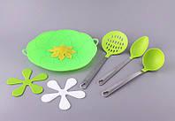 """Набор кухонных приборов 6 предмета """"Силиконовый рай"""" силиконовый, салатовый"""