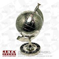 Глобус хромированный металлический настольный сувенирный.