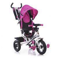 Детский трехколесный велосипед Azimut Air Lamborgini ФАРА пена розовый с ключом