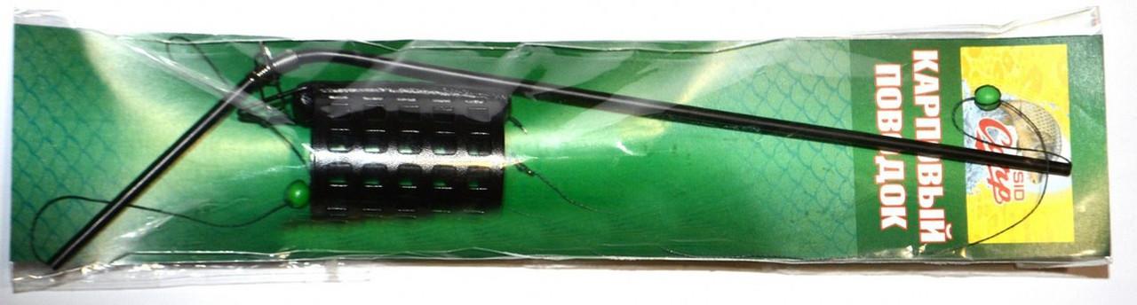 Снасть готовая с кормушкой фидер крашеный на длинном пластиковом отводе, 1 крючок, 35гр