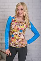 Кофта женская с цветочным принтом голубая