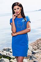 """Хлопковое синее платье """"Dior"""" c небольшим вырезом на спине, батальное. Арт-5673/57"""