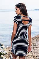"""Хлопковое платье """"Dior"""" в тёмно синюю полоску c небольшим вырезом на спине, батальное. Арт-5673/57"""