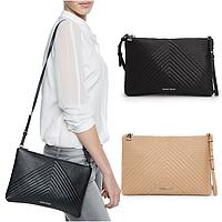 Женская маленькая сумочка клатч Mango touch с ремнем через плечо, строчка геометрический узор