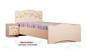 Кровать «Цветы жизни» МДФ Венге светлый/Ваниль (ТМ Вальтер)