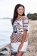 Модное бежевое платье с белым горошком, карманами+принт, больших размеров. Арт-5674/57