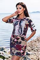 """Модное бежевое платье с орнаментом """"цветы"""", карманами+принт, больших размеров. Арт-5674/57"""