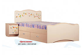 Кровать с ящиком «Цветы жизни» МДФ Венге светлый/Ваниль (ТМ Вальтер)