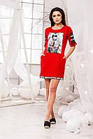 Стильное трикотажное красное платье с карманами+принт, больших размеров. Арт-5674/57