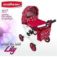 Кукольная коляска LILY TM Adbor 302 (К17, красный, цветы маленькие на красном)