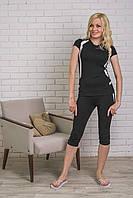 Спортивный костюм  с бриджами черный, фото 1