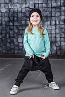 Легкая хлопковая футболка с длинным рукавом. Мята. Размеры: 92, 98 см, фото 1