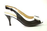 Босоножки женские Brocoli черно-белые из натуральной кожи на каблуке,женские босоножки