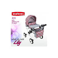 Кукольная коляска LILY TM Adbor 302 (К14, серый, листики на сером), фото 1