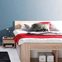 Двуспальная кровать Рико 160 с выдвижными ящиками и прикроватными тумбами.