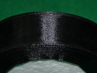 Стрічка атласна 25 мм ( 23 метри) чорний 16315