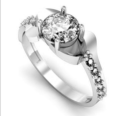 Серебряное кольцо солитер с одним камнем 34013-34018