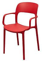 Стул Флекси пластик красный с подлокотниками  (Domini TM)