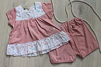 Платье и шорты ясельный летний костюм для девочек на возраст 12 мес