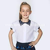 """Блузка школьная """"Милена"""" прямая, воротник кружево, фото 1"""